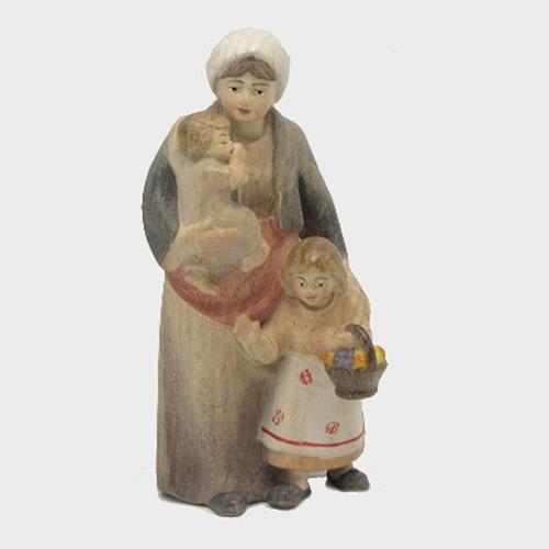 PEMA 027 Krippenfigur Hirtin mit 2 Kinder