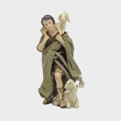 Krippenfigur Hirte mit 2 Schafe orientalisch bekleidet
