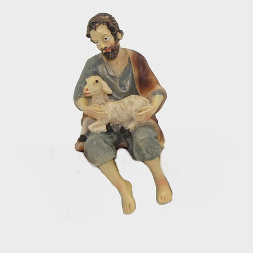 Krippenfigur Hirte mit Schaf sitzend für Bank