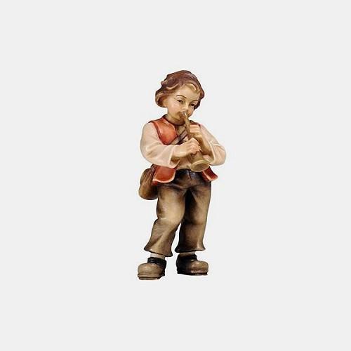 Handbemalte Kostner 072 Krippenfigur Bub mit Trompete