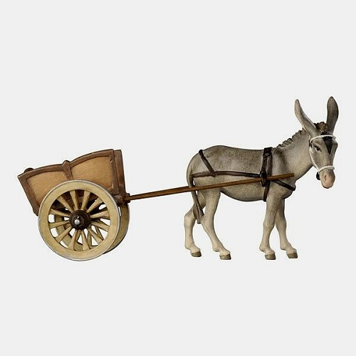 Handbemalte Kostner 187 Krippenfigur Esel mit Karren