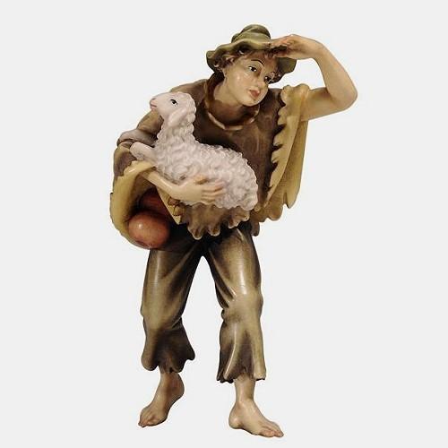 Handbemalte Kostner 054 Krippenfigur Junge mit Schaf im Arm