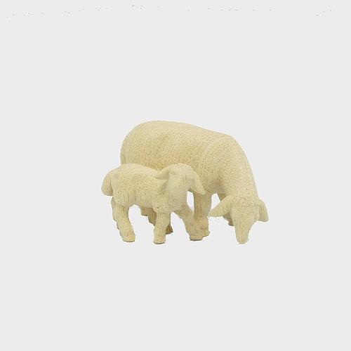 PEMA 274 natur Krippenfigur Schaf äsend mit Lamm