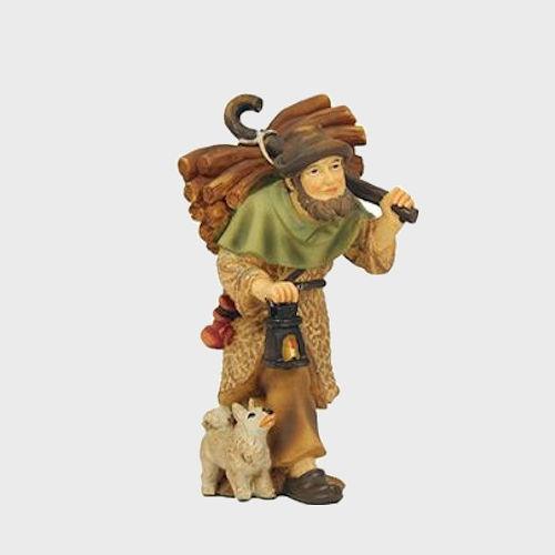 Krippenfigur aus Kunstharz Hirte mit Holz und Laterne