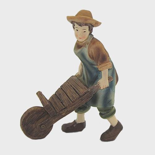 Krippenfigur Knecht mit Schubkarre