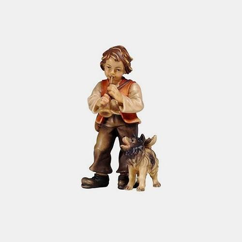 Handbemalte Kostner 076 Krippenfigur Bub mit Hund
