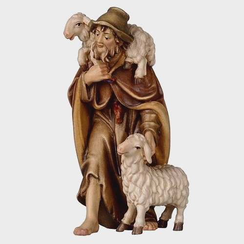 Rainell 032 Krippenfigur Hirte mit 2 Schafe