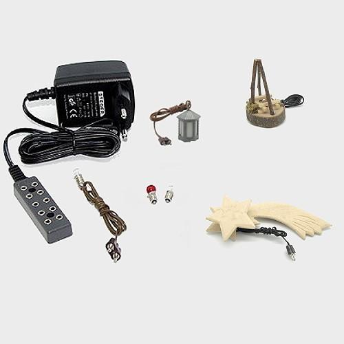 beleuchtung f r krippe elektrozubeh r im set 1 7 tlg 3 5 volt mit led krippenbeleuchtung. Black Bedroom Furniture Sets. Home Design Ideas