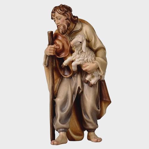 Rainell 034 Krippenfigur Hirte mit Stock und Lamm im Arm