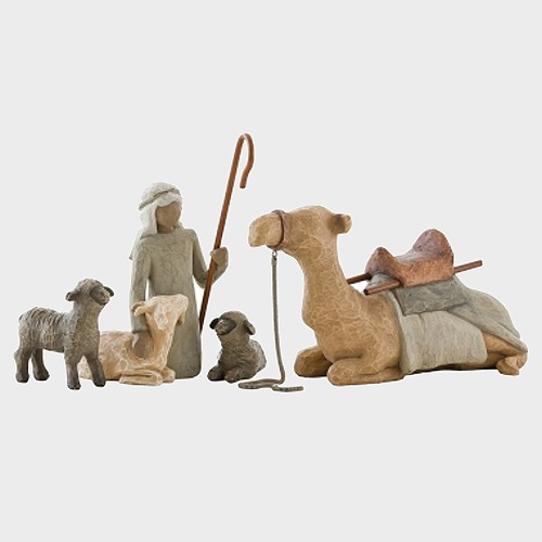Willow Tree 26105 Shepherd Stable Animals / Hirte mit Herde