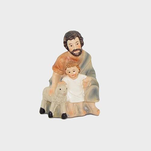 Krippenfigur Schäfer mit Kind kniend