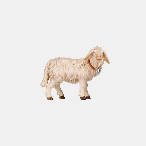Handbemalte Kostner 264 Krippenfigur Schaf stehend mit Glocke