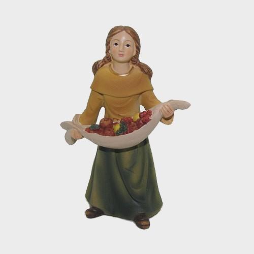 Krippenfigur Mädchen mit Obst