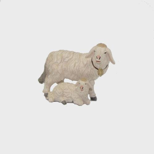 Krippenfigur Zirbel 276 Schaf stehend mit Lamm