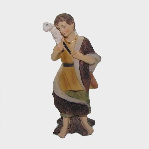 Krippenfigur Hirte mit Schaf auf Schulter