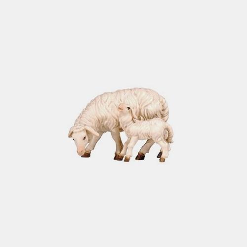 Rainell 274 Krippenfigur Schaf äsend mit Lamm