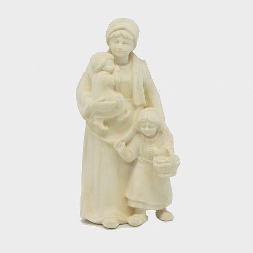 PEMA 027 natur Krippenfigur Hirtin mit 2 Kinder