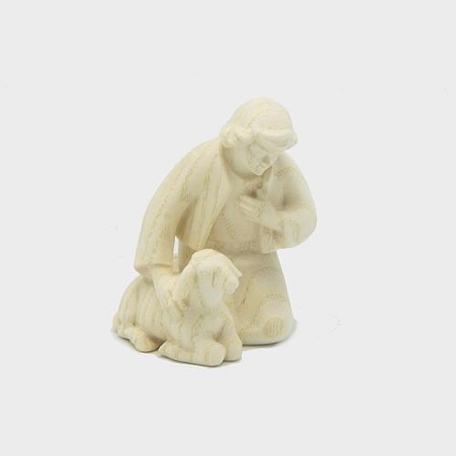 PEMA 018 natur Krippenfigur Hirte kniend mit Schaf