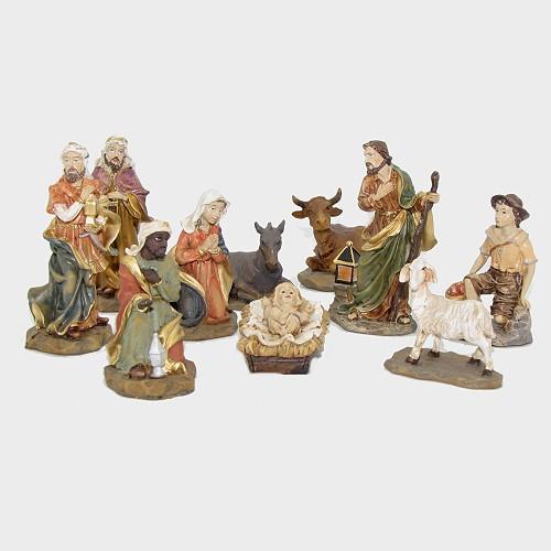 Krippenfiguren aus Kunstharz 10tlg.  8cm