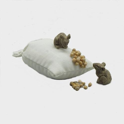Krippenfiguren Mäuse mit Kornsack