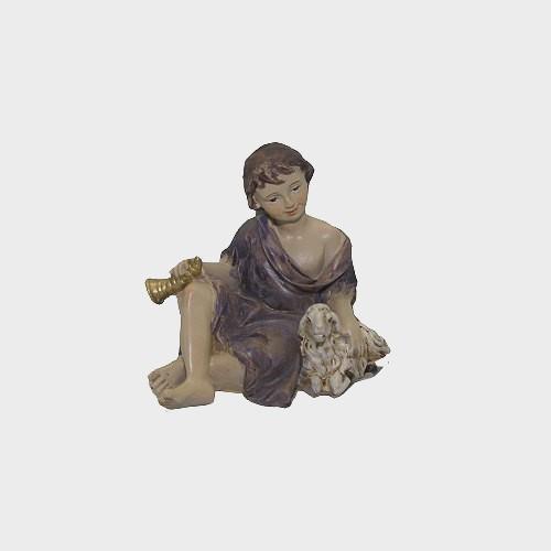Krippenfigur Schäfer sitzend mit Horn