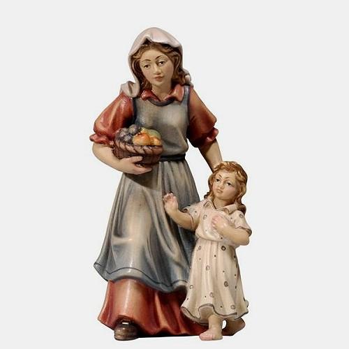 Handbemalte Kostner 083 Krippenfigur Hirtin mit Mädchen