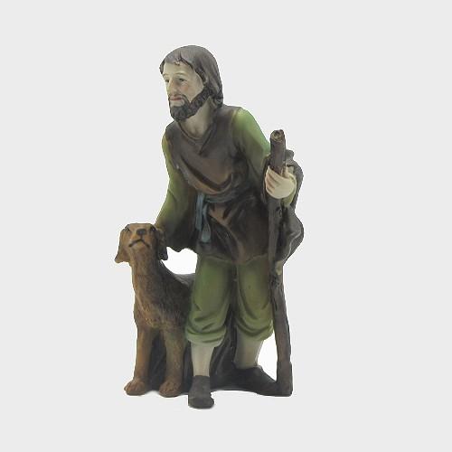 Krippenfigur Hirte mit Hund