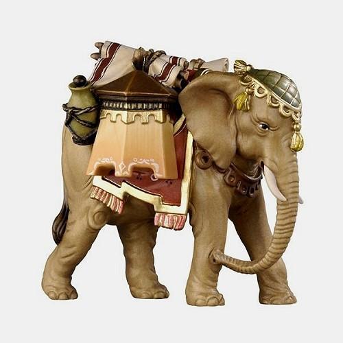 Handbemalte Kostner 180 Krippenfigur Elefant mit Gepäck