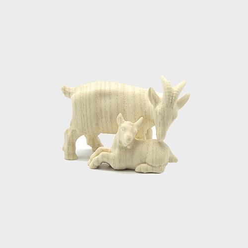 PEMA 194 natur Krippenfigur Ziege mit Zicklein