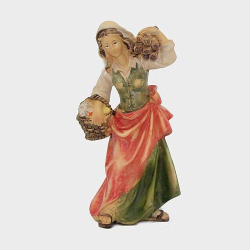 Krippenfigur Magd mit Holzbündel