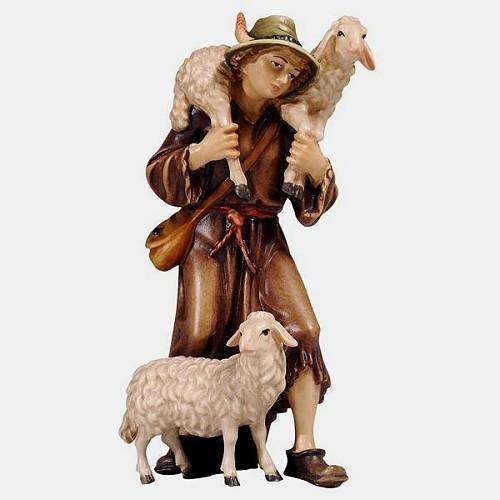 Handbemalte Kostner 046 Krippenfigur Hirte mit 2 Schafe