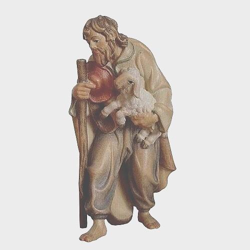 Krippenfigur Zirbel 034 Hirte mit Stock und Lamm im Arm