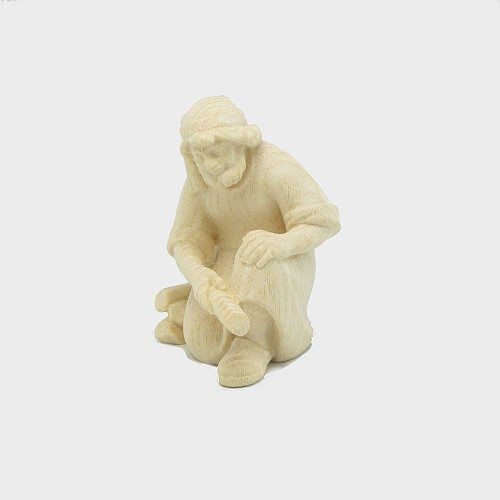 PEMA 041 natur Krippenfigur Hirte kniend am Lagerfeuer