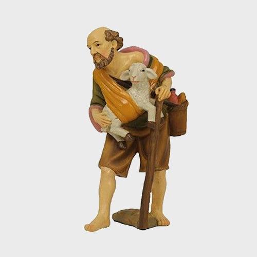 Krippenfigur aus Kunstharz Hirte mit Lamm