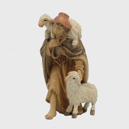 Krippenfigur Zirbel 032 Hirt mit 2 Schafe