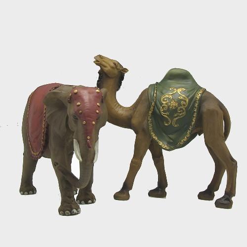 Krippenfigur Elefant und Kamel im Set