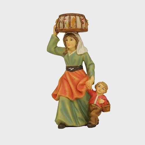 Krippenfigur aus Kunstharz Magd mit Kind und Hühner