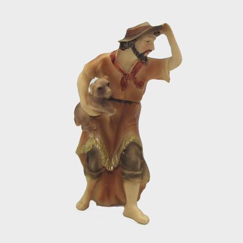 Krippenfigur Hirte mit Hund unterm Arm